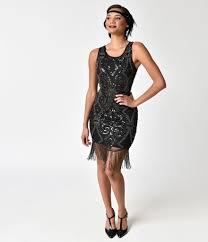 1920s Style Black Sequin Gunmetal Beaded Fringe Cocktail Dress