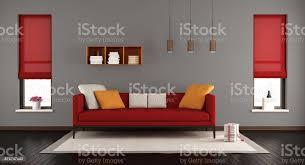 grau und rot modernes wohnzimmer stockfoto und mehr bilder architektur
