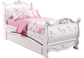 Disney Princess White 4 Pc Twin Sleigh Bed w Trundle Trundle