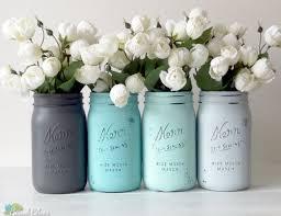 Dorm Decor Painted Mason Jars Aqua Turquoise Grey Vase Set Of 4 Quarts Centerpiece
