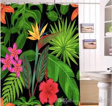 großhandel tropische regenwald blätter gemalt wasserdicht duschvorhang kreative badezimmer vorhang fußmatten sets home hotel mit haken