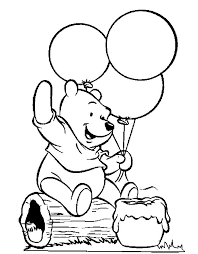 Winnie The Pooh Holding Balloons Coloring Pages For Kids Printable