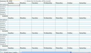 Calendar Template Word 2010 Meal Plan Template Excel Microsoft