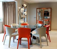 Dining Tables And Chairs Round Glass Table With Colorful Room For Sale
