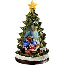 WeRChristmas Pre Lit Led Christmas Tree Scene With Rotating Train Decoration 32 Cm