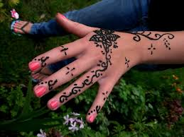 Girl Showing Her Henna Tattoo On Left Hand