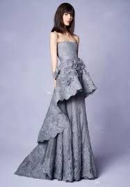 marchesa resort 2018 collection long grey lace evening gown with