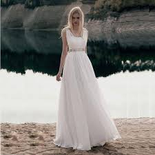 Flowing Country Wedding Dress With Beading Sleeveless A Line Long Rustic Gown Custom Made