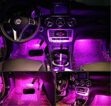 Buy 4Pcs Car LED Interior Underdash Lighting Kit W/ Sticker - Led ...