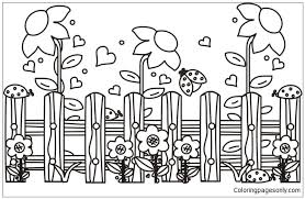 Garden Scene Coloring Page