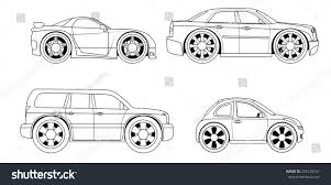 Coloring Book Stylized Cars Set