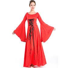 European Retro Medieval Fantasias Outfit Uniform Womens Halloween Themed Party Costume Red Renaissance Princess Fancy Dresses