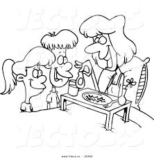 Vector Of A Cartoon Black And White Outline Design Children Serving Their Mom Breakfast