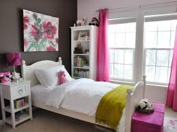 Simple Bedroom With White And Pink Combination Also Floral Painting Above Bedhead