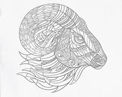 Printable Animal Head Coloring Pages Goat Pattern Page Adult Book AntiStress Art Therapy