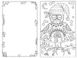 Delightful Design Christmas Cards To Color 4 Owl You Be The Artist