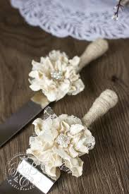 Rustic Wedding Cake Server Set Personalized Serving Vintage Servers Ivory Lace And Knife