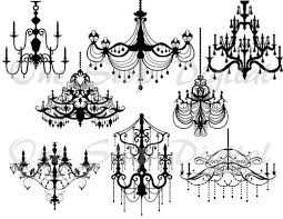 Instant Download Digital Black Chandelier Clip Art Scrapbooking Silhouette Printable Vintage Wedding Invitation 0092