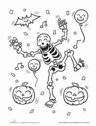 First Grade Holidays Seasons Worksheets Skeleton Coloring Page
