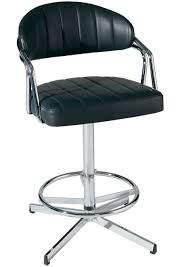 Black Leather Bar Stools by Chrome Metal Pedestal Base For Black Leather Swivel Barstool With