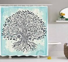 abstrakte kunst badezimmer dusche vorhang mit bäume