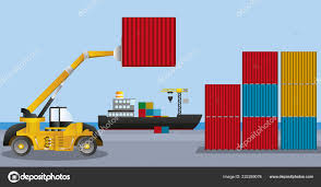 100 Truck Loader Delivery Service Concept Container Cargo Ship Loading