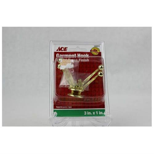 "ACE Double Garment Hook, Bright Brass, 3"" x 1"" - 2 pack"