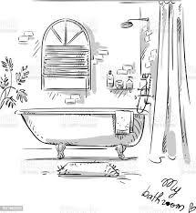 bad zeichnen stock vektor und mehr bilder badewanne