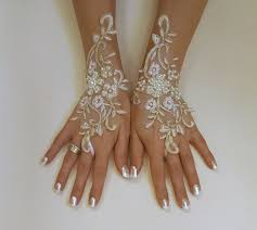 ivory gold or ivory silver frame wedding gloves bridal gloves lace