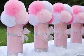 Tulle Pom Pom Decorations by Items Similar To Pink U0026 White Glitter Tulle Pom Centerpieces