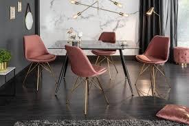 design stuhl scandinavia meisterstück samt altrosa goldene beine