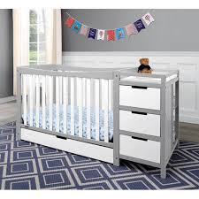 graco remi 4 in 1 convertible crib n changer combo white and gray