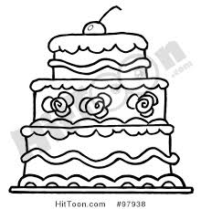 Royalty Free RF Clipart Illustration of a Triple Tiered Outlind Wedding Cake with