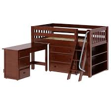 Low Loft Bed With Desk And Storage by Maxtrixkids Kicks3 L Or R Cs Low Loft Bed With Angle Ladder