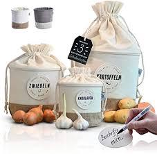 glückstoff aufbewahrungsbox 3er set aus stoff nachhaltig kartoffel zwiebel knoblauch topf küchen deko bad vorrats behälter vintage korb retro