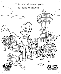 This Team Of Rescue Pups Is Ready For Action In Ensemble Coloring Page