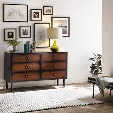 allen black and cherry 6 drawer mid century style dresser free