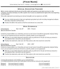 First Year Teacher Resume Examples Special Education Grade