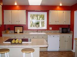 InteriorSplendid And Simple Kitchen Decor With Red White Paint On Cabinets Walls
