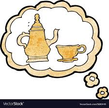 Cartoon Coffee Pot And Cup With Thought Bubble Vector Image