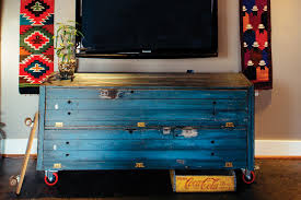 DIY Rustic TV Console Table Made From Reclaimed Wood With Wheels And Drawer Painted Blue Color Ideas