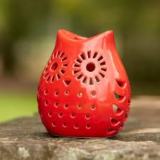 Ceramic Owl Candle Holder 6 Tea Light Decorative Red Owl By
