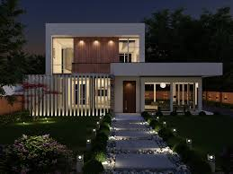 100 Contempory House Contemporary 3D Night IL Visual 3D Rendering