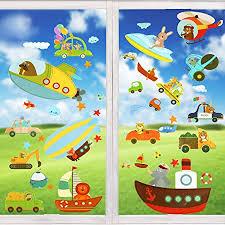 wimaha fensterbilder autos raumschiff tiere fensterfolien fenstersticker fensteraufkleber für wohnzimmer schlafzimmer kinderzimmer 30x40cm