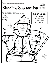 Free Color By Number Subtraction Worksheets Coloring Pages Addition