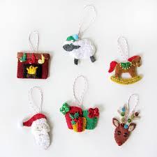 Mini Advent Ornaments Set Four Misc Ornaments Felt Christmas