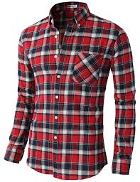 h2h mens casual slim fit thermal button down check patterned