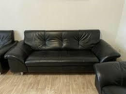 sitzgarnitur sitzecke sofa koltuk schwarz echtleder