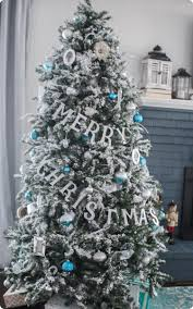 Flocked Christmas Trees Decorated by Blue And White Christmas Home Tour Lovely Etc