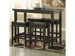 Kimonte 5-Piece Counter Table Set With Dark Brown Upholstered Stools By  Signature Design By Ashley At Rotmans